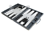 picture of Hector Saxe Carbon Linen/Leather Backgammon Set - Grey (3 of 12)