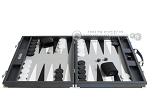 picture of Hector Saxe Carbon Linen/Leather Backgammon Set - Grey (4 of 12)