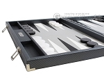 picture of Hector Saxe Carbon Linen/Leather Backgammon Set - Grey (5 of 12)
