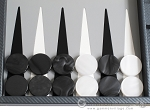 picture of Hector Saxe Carbon Linen/Leather Backgammon Set - Grey (8 of 12)