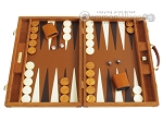 Hector Saxe Suede Leather Backgammon Set - Havana - Item: 2528
