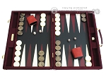 Hector Saxe Suede Leather Backgammon Set - Maroon - Item: 1058