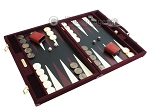 picture of Hector Saxe Suede Leather Backgammon Set - Maroon (2 of 12)