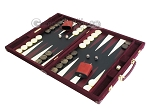 picture of Hector Saxe Suede Leather Backgammon Set - Maroon (3 of 12)