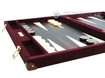 picture of Hector Saxe Suede Leather Backgammon Set - Maroon (5 of 12)
