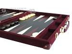 Hector Saxe Suede Leather Backgammon Set - Maroon