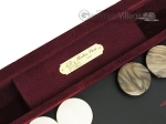 picture of Hector Saxe Suede Leather Backgammon Set - Maroon (7 of 12)