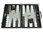 Hector Saxe Calfskin Leather Backgammon Set - Black - Item: 1046