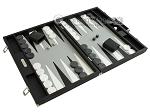 picture of Hector Saxe Calfskin Leather Backgammon Set - Black (2 of 12)