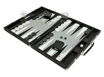 picture of Hector Saxe Calfskin Leather Backgammon Set - Black (3 of 12)