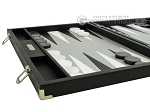 picture of Hector Saxe Calfskin Leather Backgammon Set - Black (5 of 12)