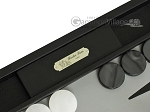 picture of Hector Saxe Calfskin Leather Backgammon Set - Black (7 of 12)