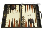 Hector Saxe Calfskin Leather Backgammon Set - Chocolate - Item: 2527
