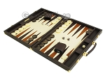 picture of Hector Saxe Calfskin Leather Backgammon Set - Chocolate (3 of 12)