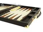 picture of Hector Saxe Calfskin Leather Backgammon Set - Chocolate (6 of 12)