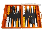 Hector Saxe Croco Leather Backgammon Set - Orange - Item: 2532