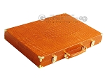 picture of Hector Saxe Croco Leather Backgammon Set - Orange (11 of 12)