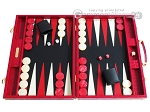 Hector Saxe Croco Leather Backgammon Set - Red - Item: 2531