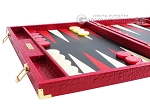 picture of Hector Saxe Croco Leather Backgammon Set - Red (5 of 12)