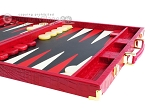 picture of Hector Saxe Croco Leather Backgammon Set - Red (6 of 12)