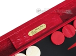 picture of Hector Saxe Croco Leather Backgammon Set - Red (7 of 12)