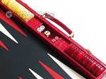 picture of Hector Saxe Croco Leather Backgammon Set - Red (9 of 12)