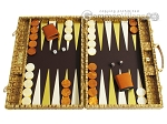 Hector Saxe Croco Leather Backgammon Set - Gold - Item: 2533
