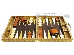 picture of Hector Saxe Croco Leather Backgammon Set - Gold (4 of 12)