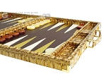 picture of Hector Saxe Croco Leather Backgammon Set - Gold (6 of 12)
