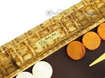 picture of Hector Saxe Croco Leather Backgammon Set - Gold (7 of 12)