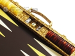 picture of Hector Saxe Croco Leather Backgammon Set - Gold (9 of 12)