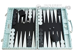 Hector Saxe Croco Leather Backgammon Set - Silver - Item: 2534