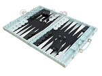 picture of Hector Saxe Croco Leather Backgammon Set - Silver (3 of 12)