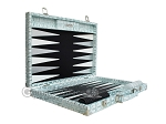 picture of Hector Saxe Croco Leather Backgammon Set - Silver (10 of 12)