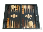 picture of 19-inch Black Backgammon Set - Olive Wood Checkers (1 of 12)