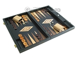 picture of 19-inch Black Backgammon Set - Olive Wood Checkers (2 of 12)