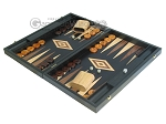 picture of 19-inch Black Backgammon Set - Olive Wood Checkers (3 of 12)