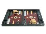 19-inch Black Backgammon Set - Red