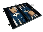 picture of 15-inch Black Backgammon Set - Blue Field (2 of 12)