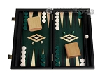 15-inch Black Backgammon Set - Green Field - Item: 2878