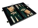 picture of 15-inch Black Backgammon Set - Green Field (2 of 12)