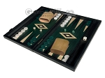 picture of 15-inch Black Backgammon Set - Green Field (3 of 12)
