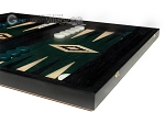 15-inch Black Backgammon Set - Green Field