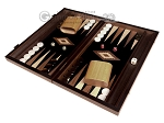 15-inch Olive Root Backgammon Set - Black Field - Item: 2886