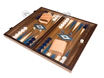 15-inch Walnut Backgammon Set - Blue