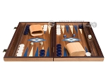picture of 15-inch Walnut Backgammon Set - Blue (3 of 11)