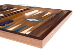 picture of 15-inch Walnut Backgammon Set - Blue (5 of 11)
