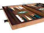 picture of 15-inch Walnut Backgammon Set - Green (5 of 12)