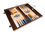picture of 15-inch Walnut and Oak Backgammon Set - Blue (2 of 12)