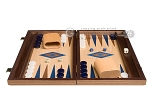 picture of 15-inch Walnut and Oak Backgammon Set - Blue (3 of 11)